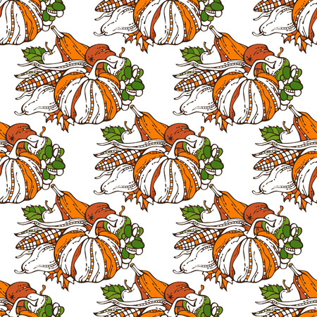 boundless: Vector seamless Thanksgiving pattern. Plenty of fruits and vegetables. Corn, pumpkin, grape, autumn leaf, apple and pear. Harvest time. Boundless background for your design. Orange, green and white.