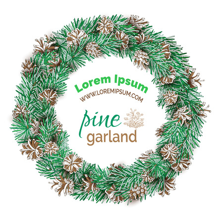 pine decoration: Christmas pine round wreath isolated on white background. Vector festive decoration. Pine branches and cones. Nature illustration. Illustration