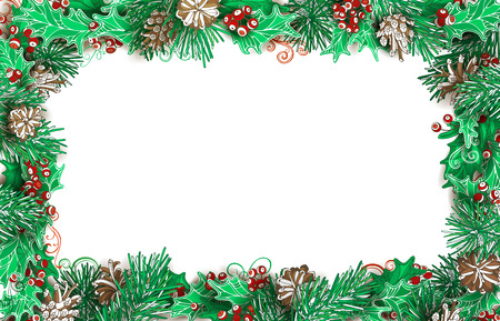 prickle: Christmas horizontal frame of pine branches with cones and holly berries. Vector festive illustration. There is copy space for your text on white background.
