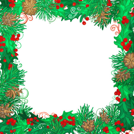 adorn: Christmas festive frame on white background. Mistletoes, pine branches and cones. Hand-drawn vector illustration. There is copy space for your text on white background. Illustration
