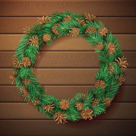 pinetree: Christmas square wooden background with pine wreath. Pine branches with needles and cones in garland. High detailed vector template. There is copy space for your text in the center.