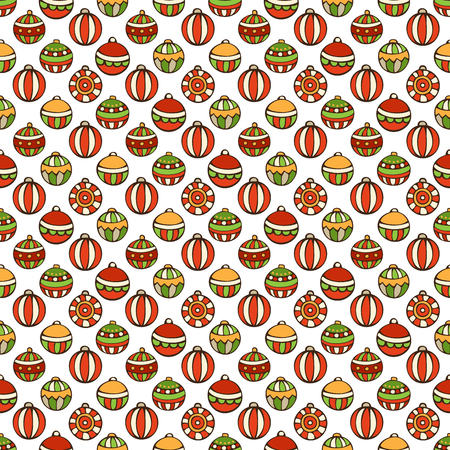 bright christmas tree: Vector Merry Christmas seamless pattern. Bright set of Christmas tree baubles on white background. Doodles hand-drawn boundless background. Illustration
