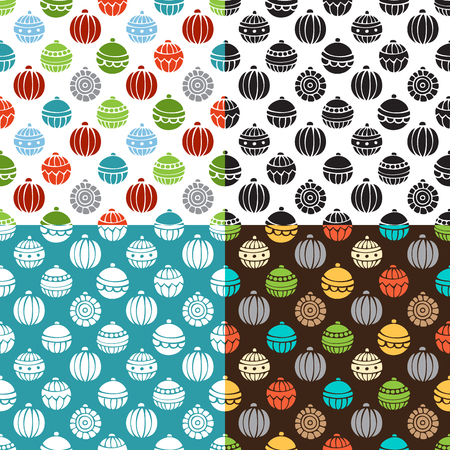 bright christmas tree: Vector set of Christmas seamless patterns. Bright and monochrome Christmas tree baubles. Doodles and cartoon hand-drawn boundless background.
