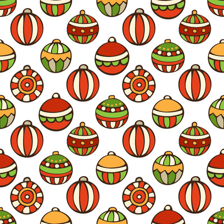 bright christmas tree: Vector seamless pattern of Christmas baubles. Bright set of Christmas tree baubles on white background. Doodles hand-drawn boundless background. Illustration
