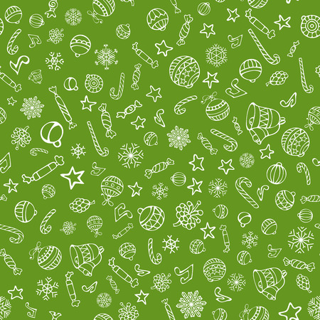 duotone: Vector Merry Christmas seamless pattern. Christmas tree baubles, sweets, candy canes, stars, music notes and snowflakes, bells and pine cones on white background.