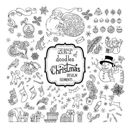 santa sack: Vector set of doodles Christmas symbols, decorations, design elements isolated on white background. Christmas baubles, Santa, sack, snowman, gingerbread man, Santa socks, gifts, snow globe, poinsettia