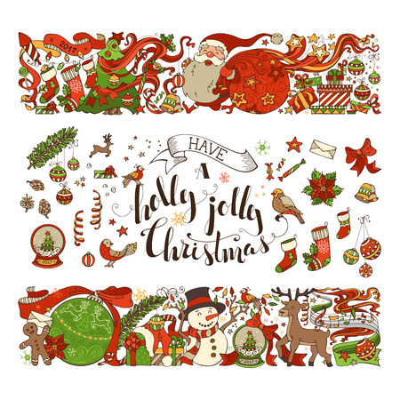 christmas decorations: Vector set of Merry Christmas symbols, decorations, design elements isolated on white background. Set of two horizontal Christmas decorations. Christmas tree and Christmas balls, Santa with sack, gifts, snowman, gingerbread man, deer, Santa socks, hand-wr