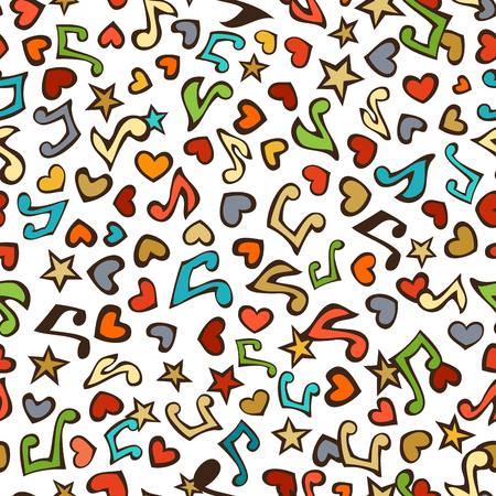 Vector seamless love music pattern. Cartoon various music notes, hearts and stars on white background. Colourful doodles boundless background.