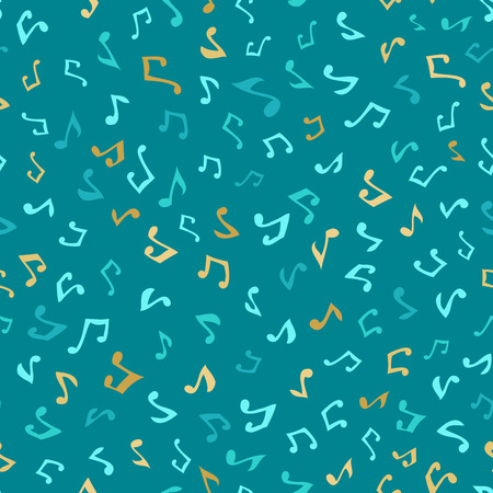 boundless: Vector seamless blue music pattern. Various hand-drawn music notes. Blue and gold boundless background. Illustration