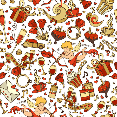 chocolate swirl: Vector seamless love pattern. Cartoon romantic objects on white background. Valentines signs, design elements and symbols. Red and gold illustration.