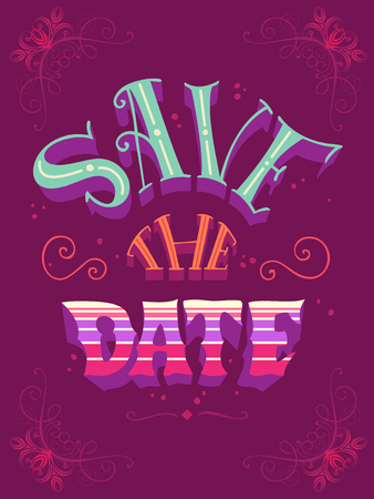 Save the date. Romantic quote. Vintage coloured hand-lettering. Can be used as a poster for Valentines day and wedding or print on t-shirts and bags.