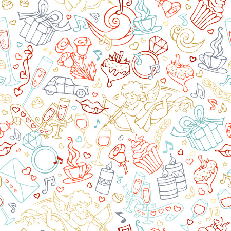 Vector seamless linear Valentines pattern. Cartoon outlines objects on white background. Love signs, design elements and symbols.