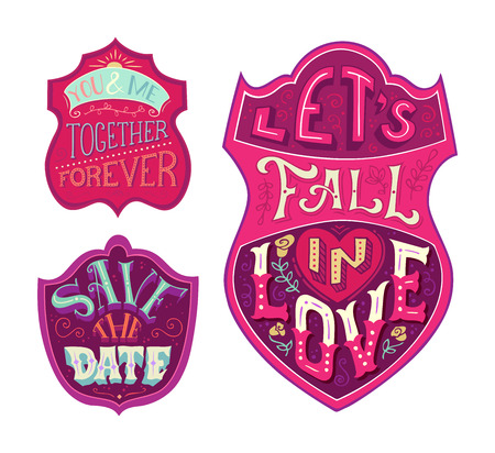 coloured background: You and me. Together forever. Lets fall in love. Save the date. Vector set of love badges isolated on white background. Coloured handwritten lettering in labels. Illustration