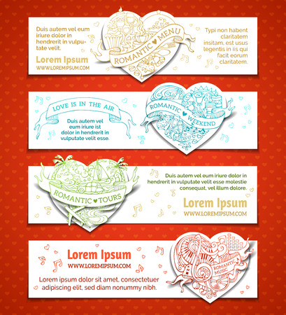 Vector set of horizontal romantic duotone banners. Valentines day doodles doodles banners. Romantic music, weekend, menu, tours. There is place for your text on white background.