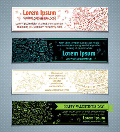 Vector set of horizontal love doodles banners. Valentines day banners on black and white backgrounds. Romantic music, weekend, menu, tours. There is place for your text.