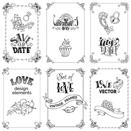 written: Vector set of black vintage frames isolated on white background. Handwritten love lettering, signs and symbols, ribbons. There is place for your text. Valentines day romantic design elements.