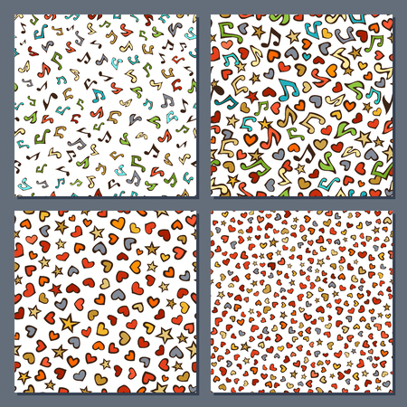 Vector set of seamless love and music patterns. Cartoon various music notes, hearts and stars on white background. Colourful doodles boundless backgrounds set.
