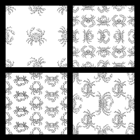 boundless: Vector set of seamless doodles crabs patterns. Various black linear crabs on white background. Duotone boundless backgrounds for your design.