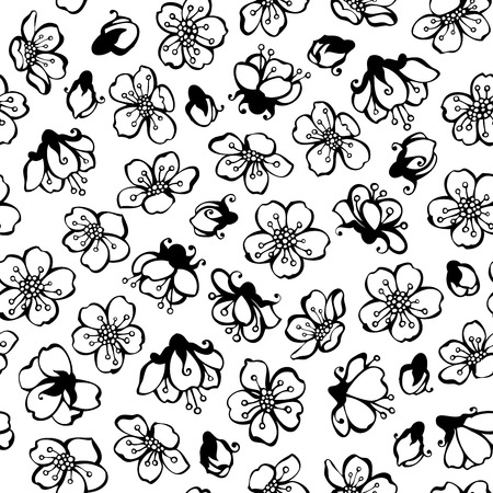 Vector doodles seamless pattern of spring flowers black contours vector vector doodles seamless pattern of spring flowers black contours of flowers from fruit trees on white background black and white boundless mightylinksfo