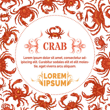 Red crabs background with round frame. Vector seafood menu template. There is place for your text in the center.