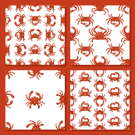 pincer: Vector set of seamless crab patterns. Various hand-drawn red crabs on white background. Boundless background for your design.