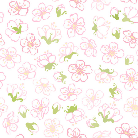 boundless: Vector seamless spring blossoms pattern. Boundless background of apple flowers.