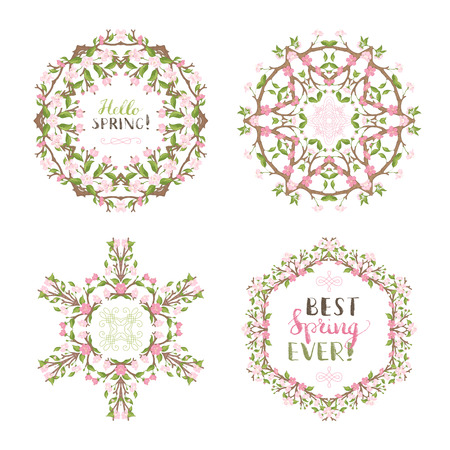 Vector set of spring frames and mandalas. Frames of cherry blossoms on branches. Handwritten grunge brush lettering. There is copyspace for your text in the center.