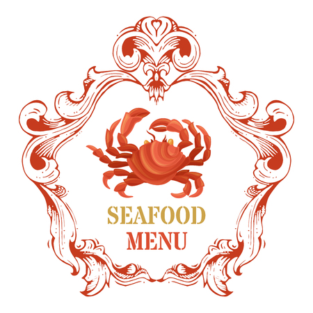 Vector seafood menu template. Red crab crab and vintage hand-drawn frame on white background.