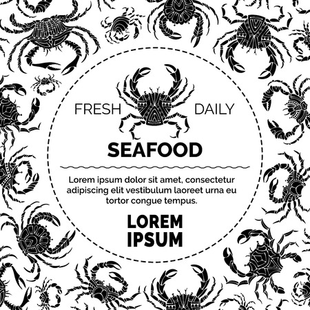 Black and white crabs background. Various ornate crab silhouettes. Vector seafood menu template. There is place for your text in round frame.