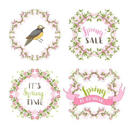bourgeon: Cherry blossoms vintage frames. Pink flowers and leaves on tree branches. Hand-drawn bird, ribbon, seasonal lettering and flourishes. There is copyspace for your text. Illustration