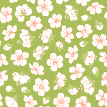 bourgeon: Vector seamless spring blossoms pattern. White fruit tree flowers on green background. Boundless background for your design.