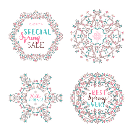 Set of spring frames isolated on white. Blossoms on tree branches. Handwritten grunge brush lettering. There is copyspace for your text in the center.