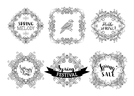 Set of vector spring vintage frames. Linear ornaments. Contours of flowers and leaves on tree branches. Hand-drawn seasonal lettering and flourishes. There is copyspace for your text.