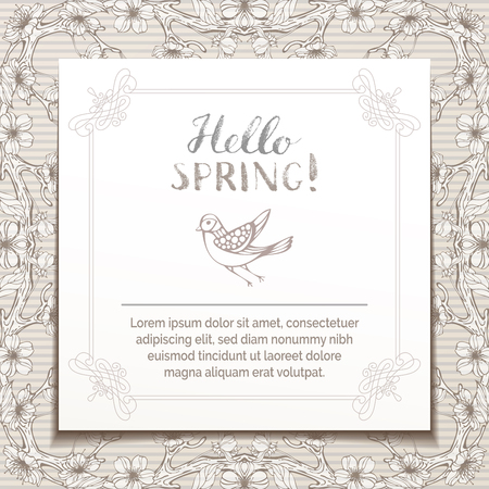 Hello spring template. Hand-drawn blossoms on tree branches in sepia. Hand-written brush lettering. There is copyspace for your text on white paper.