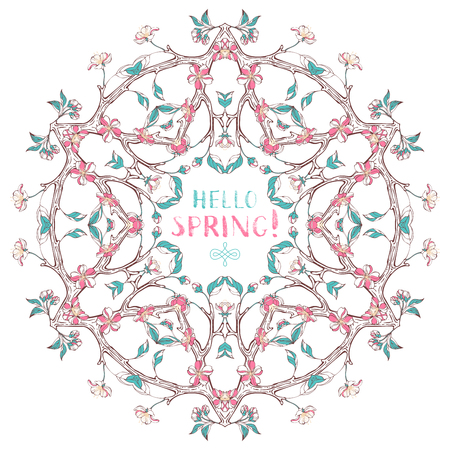 bourgeon: Spring flowers mandala. Vector ornament of cherry blossoms and leaves on tree branches. There is copyspace for your text in the center.