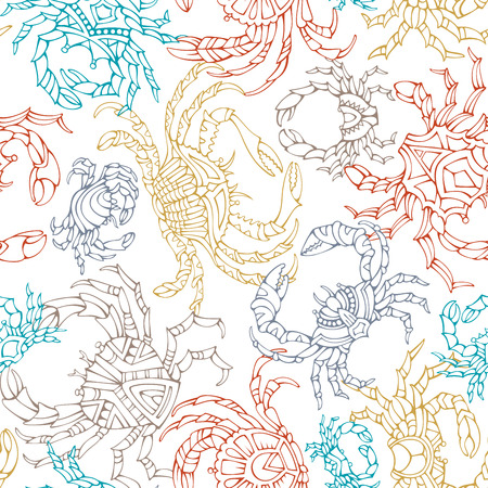Various hand-drawn linear crabs on white background. Boundless background for your design.