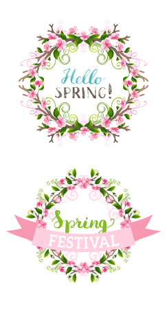 bourgeon: Frames of spring flowers. Hand-drawn ornaments and flourishes, cherry blossoms and leaves on branches. Seasonal card template. Hand-written lettering. Page decorations isolated on white background.