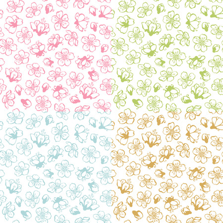 coloured background: Coloured contours of flowers from fruit trees on white background. Duotone boundless backgrounds.