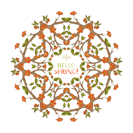 Spring blossoms round ornament. Frame of red spring flowers on branches. Spring tree mandala. Vector card template. There is copyspace for your text in the center. Çizim