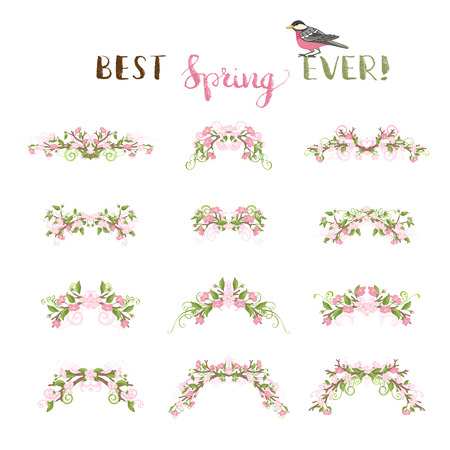 bourgeon: Spring page decorations and dividers. Vector cherry flowers, leaves and flourishes on branches. Ornate decorations isolated on white background.