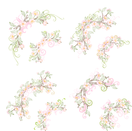bourgeon: Spring corner page decorations isolated on white background. Vector outlined spring flowers, leaves and flourishes on branches. Coloured hand-drawn ornaments.