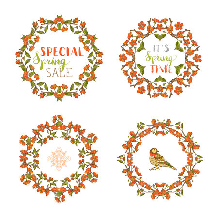Vector spring ornate frames. Frames of red blossoms on tree branches. Handwritten grunge brush lettering. There is copyspace for your text in the center.