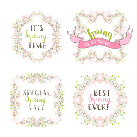 coloured background: Linear spring blossoms, leaves, branches and flourishes. Coloured page decorations and ornaments isolated on white background. Hand-written lettering.