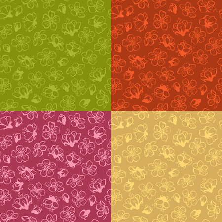 bourgeon: Hand-drawn contours of flowers from fruit trees on coloured background. Duotone boundless backgrounds. Illustration