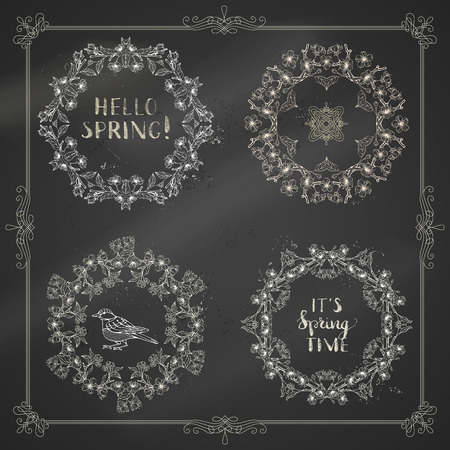 Vector spring blossoms chalk vintage frames. Cherry blossoms on tree branches on blackboard background. Handwritten grunge brush lettering. There is copyspace for your text in the center. Çizim