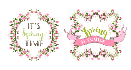 burgeon: Vector spring ornate frames. Ornaments and flourishes, pink cherry blossoms and green leaves on tree branches. Hand-written lettering. Seasonal page decorations isolated on white background.