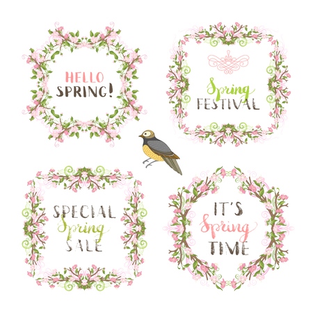 Vector spring flowers vintage frames. Cherry blossoms and leaves on tree branches. Hand-drawn seasonal lettering and flourishes. There is copyspace for your text.