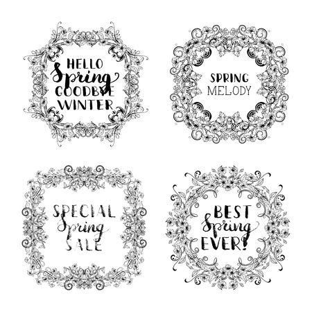 Vector spring blossoms vintage frames. Linear ornament of flowers and leaves on tree branches. Hand-drawn seasonal lettering and flourishes. There is copyspace for your text.