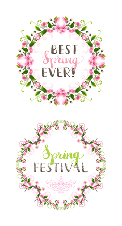 bourgeon: Artistic design of a spring frames set. Pink cherry blossoms and leaves on tree branches, hand-drawn flourishes. Hello spring lettering. Ornate page decorations isolated on white background. Illustration