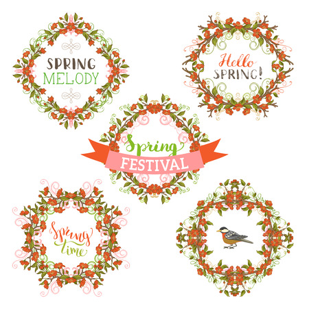 Vector spring blossoms frames. Red flowers and leaves on tree branches. Hand-drawn seasonal lettering and flourishes. There is copyspace for your text.